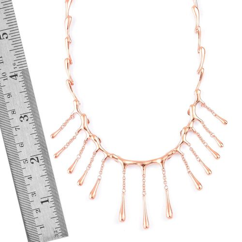 LucyQ Multi Drip Necklace (Size 16 with 4 inch Extender) in Rose Gold Overlay Sterling Silver 44.68 Gms.