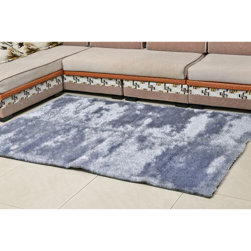 Super-Plush Extra-Long Pile Silver Colour Lounge Carpet (Size 200x140 Cm)