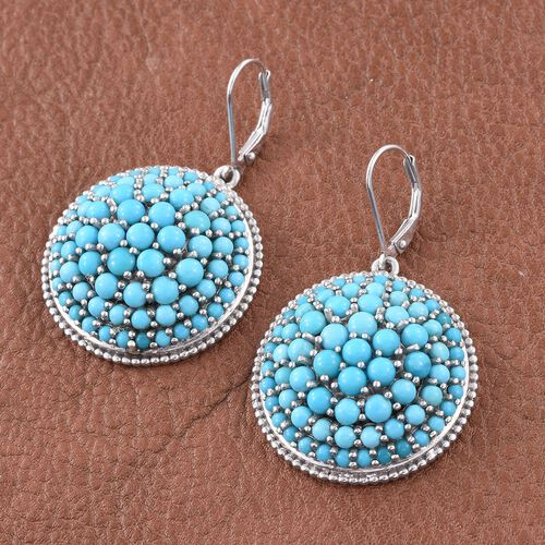 AA Sleeping Beauty Turquoise 15.25 Carat Silver Lever Back Cluster Earrings in Platinum Overlay