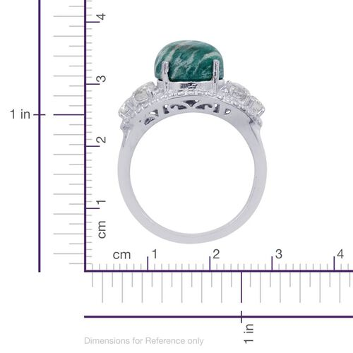 Russian Amazonite (Ovl 5.00 Ct), White Topaz Ring in Platinum Bond 6.250 Ct.