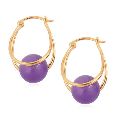Super Auction - Burmese Purple Jade (Rnd 10 mm) Hoop Earrings (with Clasp) in Yellow Gold Overlay Sterling Silver 17.000 Ct.