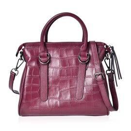 Genuine Leather Croc Embossed Burgundy Colour Tote Bag with Adjustable and Removable Shoulder Strap (Size 28.5X24.5X9.5 Cm)