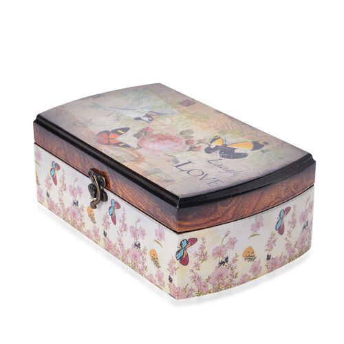Set of 2 - Chocolate, White and Multi Colour Butterfly and Floral Pattern Vintage Style MDF Jewellery Box (Size 24.5X15X9 and 19.5X11X7 Cm)