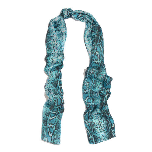 100% Mulberry Silk Sky Blue and Black Colour Handscreen Snake Skin Printed White Colour Pareo (Size 180x50 Cm)
