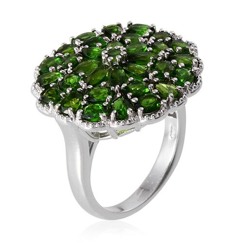 Russian Diopside (Pear) Cluster Ring in Platinum Overlay Sterling Silver 7.000 Ct.