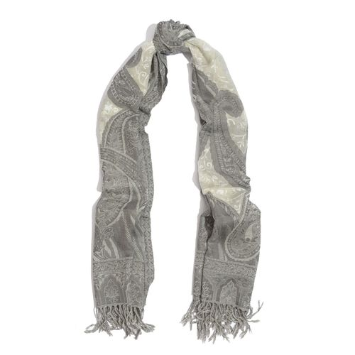 100% Merino Wool Paisley Pattern Cream and Grey Colour Shawl (Size 175x70 Cm)