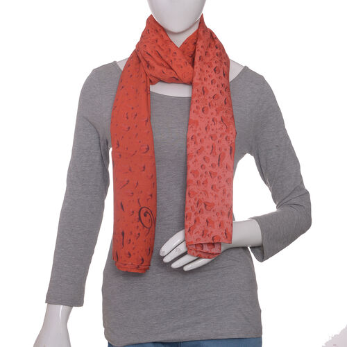 LucyQ Water Drops Digital Printed Red Colour Scarf (Size 180x70 Cm)