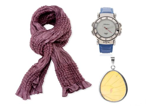 Purple Colour Bubble Pattern Scarf (Size 180x30 Cm), STRADA Japanese Movement MOP Dial Light Blue Austrian Crystal Watch with Dark Blue Strap and Butterfly Wing Specimen Pendant