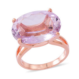 AAA Rose De France Amethyst (Ovl) Ring in Rose Gold Overlay Sterling Silver 17.000 Ct.