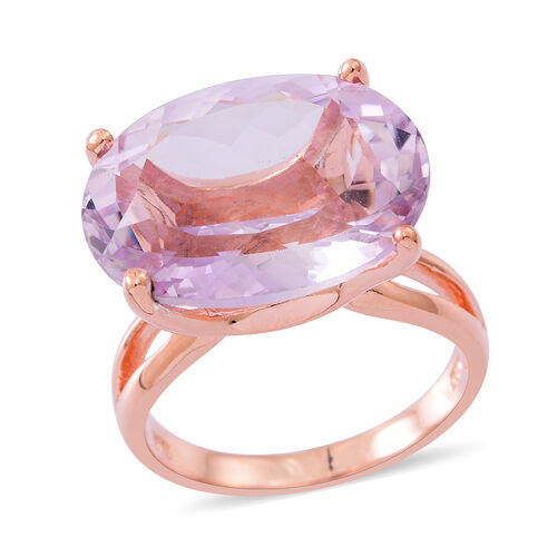 Rose De France Amethyst (Ovl) Ring in Rose Gold Overlay Sterling Silver 17.000 Ct.
