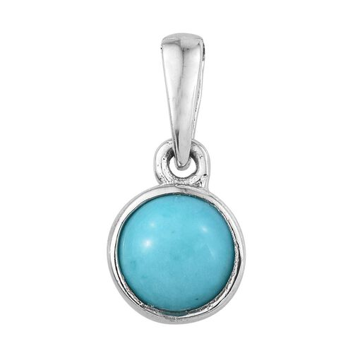 Arizona Sleeping Beauty Turquoise (Rnd) Solitaire Pendant in Platinum Overlay Sterling Silver 0.750 Ct.
