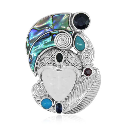 Limited Edition- Princess Bali Collection OX Bone Carved Face (Ovl), Abalone Shell, Kanchanaburi Blue Sapphire, Arizona Sleeping Beauty Turquoise Pendant in Sterling Silver 15.610 Ct.