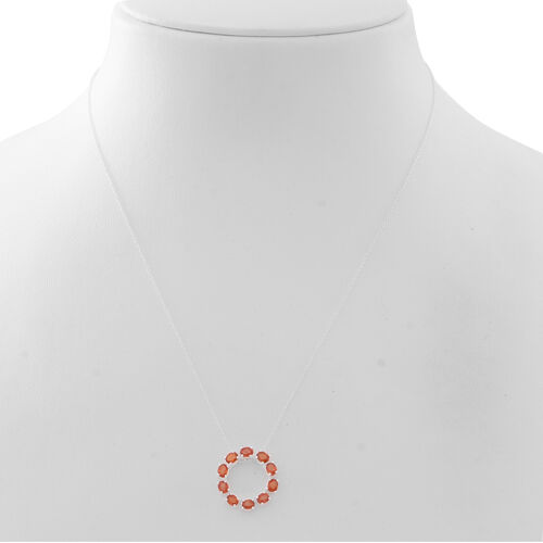 Madagascar Sunset Sapphire (Ovl) Circle of Life Pendant with Chain in Sterling Silver 2.000 Ct.