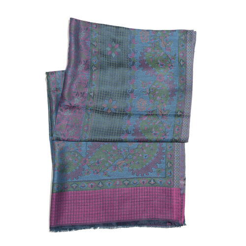 Teal, Purple and Multi Colour Floral and Leaves Pattern Jacquard Scarf with Tassels (Size 190X70 Cm)
