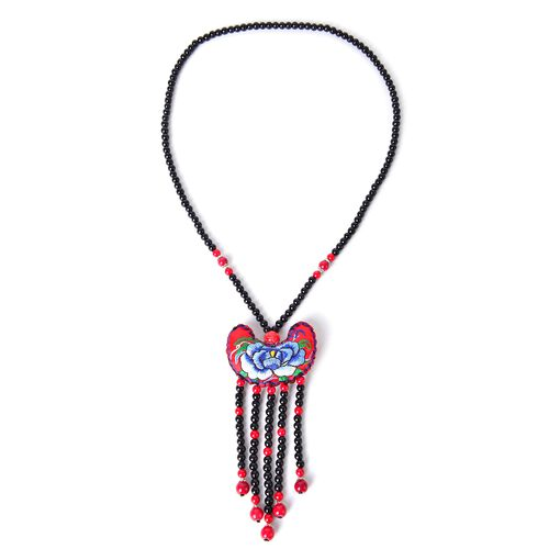 Shanghai Collection- Hand Crafted Multi Colour Floral Embroidered Necklace (Size 28) with Red and Black Colour Beads