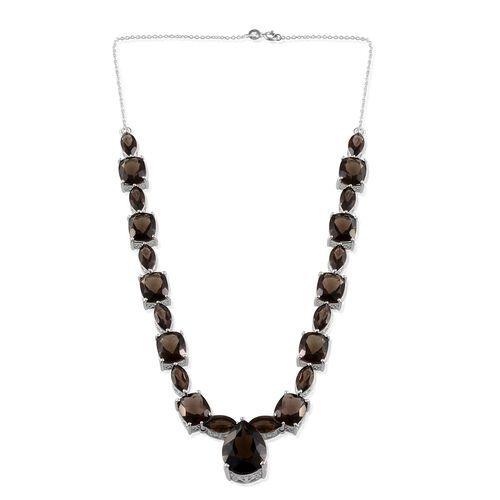 Brazilian Smoky Quartz (Pear 14.50 Ct) Necklace (Size 20) in Platinum Overlay Sterling Silver 80.000 Ct.