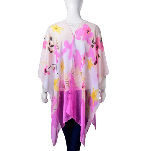 Blooming Flower Pattern White, Pink and Multi Colour Poncho with Simulated White Pearl Button (Size 90x75 Cm)