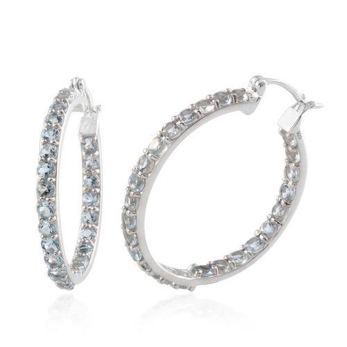 Espirito Santo Aquamarine (Rnd) Hoop Earrings in Platinum Overlay Sterling Silver 5.000 Ct.