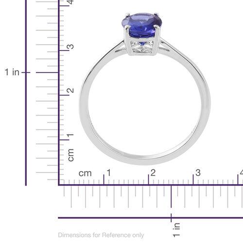 ILIANA 18K White Gold AAA Tanzanite (Ovl) Solitaire Ring 1.750 Ct.