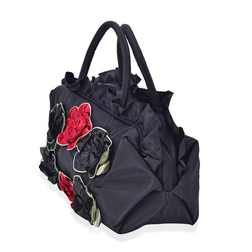 3D Flowers and Ruffle Embellished Black and Red Colour Tote Bag (Size 30X17.5X13 Cm)