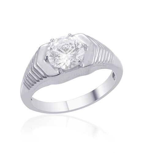 J Francis - Platinum Overlay Sterling Silver (Rnd) Solitaire Ring Made with SWAROVSKI ZIRCONIA 2.040 Ct.