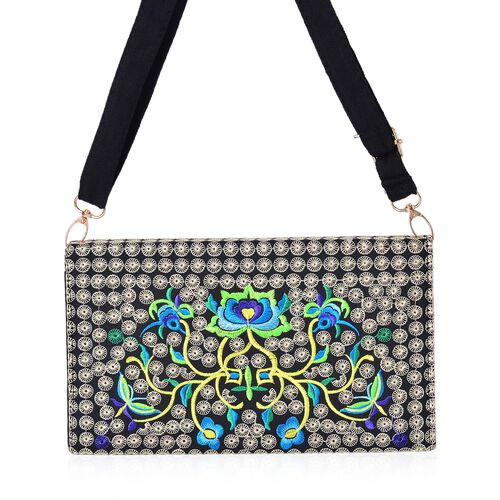Blue, Black and Multi Colour Floral Embroidered Crossbody Bag with Adjustable and Removable Shoulder Strap (Size 25x14.5x6 Cm)