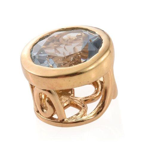Espirito Santo Aquamarine 1.25 ct. Round Silver Solitaire Pendant in Gold Overlay