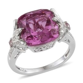 Kunzite Colour Quartz (Cush 5.50 Ct), White Topaz and Pink Sapphire Ring in Platinum Overlay Sterling Silver 5.900 Ct.