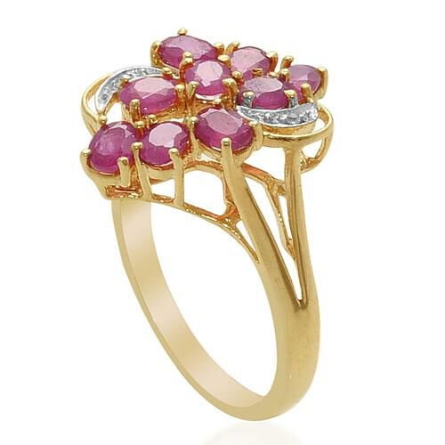African Ruby White Topaz 14K Gold Overlay Sterling Silver Ring  1.850  Ct.