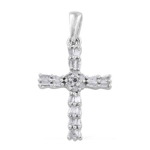 Diamond 0.25 Ct Silver Cross Pendant in Platinum Overlay