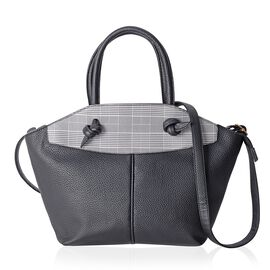 Black and White Colour Houndstooth Pattern Tote Bag with External Zipper Pocket with Shoulder Strap (Size 44x28x26x8 Cm)