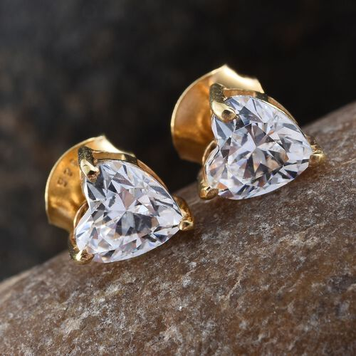 J Francis - 14K Gold Overlay Sterling Silver (Hrt) Stud Earrings (with Push Back) Made with SWAROVSKI ZIRCONIA