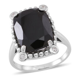 Boi Ploi Black Spinel (Cush 12.40 Ct), White Zircon Ring in Rhodium Plated Sterling Silver 12.500 Ct.
