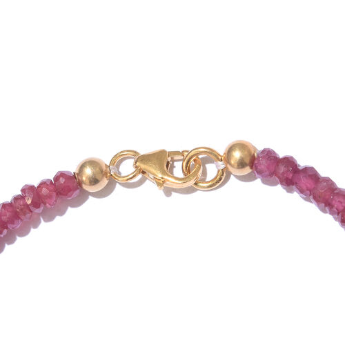 African Ruby (Rnd) Bracelet (Size 7.5) with Lotus Charm in Yellow Gold Overlay Sterling Silver 20.000 Ct.