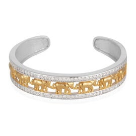 ELANZA AAA Simulated Diamond (Rnd) Elephant Cuff Bangle (Size 7.5) in Yellow Gold and Rhodium Plated Sterling Silver, Silver wt 25.00 Gms.