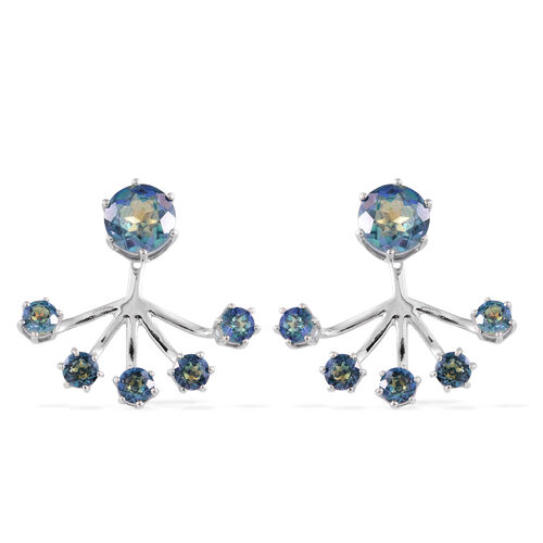 ICY Quartz (Rnd) Jacket Earrings (with Push Back) in Rhodium Plating Sterling Silver 7.293 Ct. Silver wt 5.56 Gms.