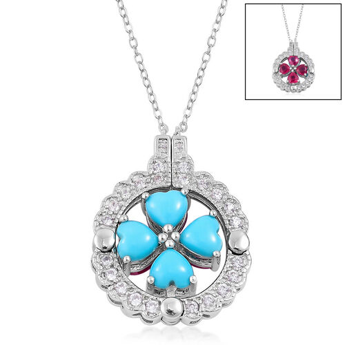 Convertible 4 Way Pendant Necklace in Silver with 4.19 Ct Sleeping Beauty, Ruby and Natural Zircon