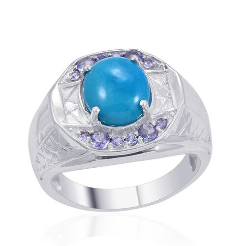 Designer Collection Arizona Sleeping Beauty Turquoise (Ovl 4.00 Ct), Tanzanite Ring in Platinum Overlay Sterling Silver 4.880 Ct.