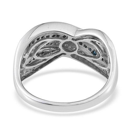 Blue diamond (0.25 Ct) and Diamond Platinum Overlay Sterling Silver Ring  0.500  Ct.