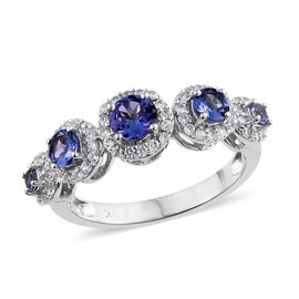 9K White Gold 1.35 Ct AA Tanzanite Ring with Natural Cambodian Zircon