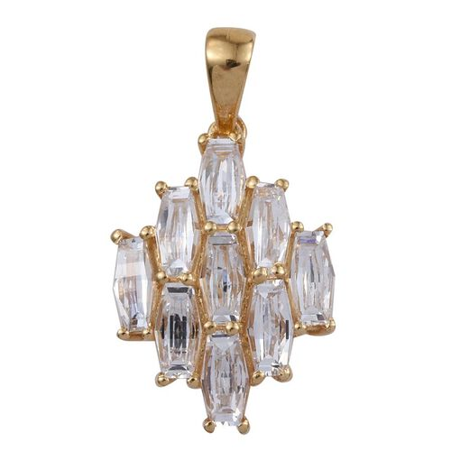 J Francis - 14K Gold Overlay Sterling Silver Pendant Made with SWAROVSKI ZIRCONIA