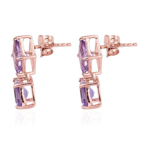 Rose De France Amethyst Earrings in Rose Gold Overlay Sterling Silver 3.250 Ct.
