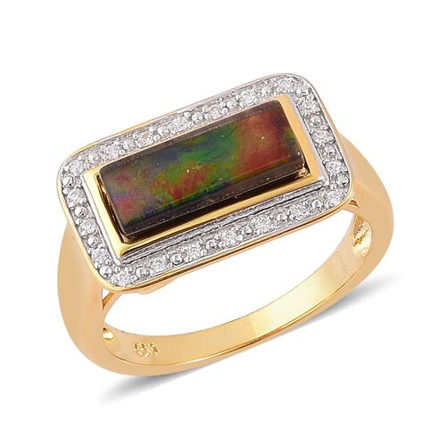 Canadian Ammolite (Bgt 1.75 Ct), White Zircon Ring in Yellow Gold Overlay Sterling Silver 1.900 Ct.