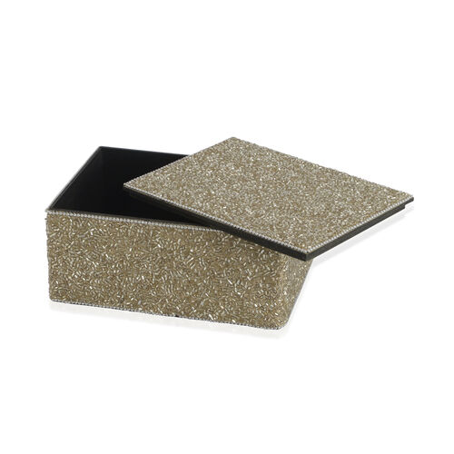 Home Decor - Silver Colour Seed Beaded Handmade Box (Size 18x12.5x7.5 Cm)