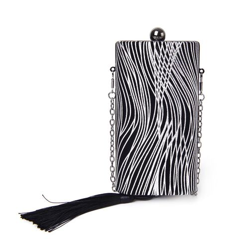 Black and Silver Colour Stripes Pattern Velvet Clutch Bag with Chain Strap in Black Tone (Size 16X8.5X5.5 Cm)