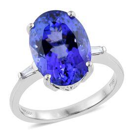 RHAPSODY 950 Platinum AAAA Tanzanite (Ovl 8.81 Ct), Diamond (VS/E-F) Ring 8.950 Ct.
