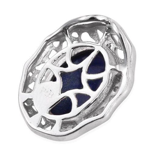Lapis Lazuli (Ovl) Solitaire Pendant in ION Plated Platinum Bond 6.750 Ct.