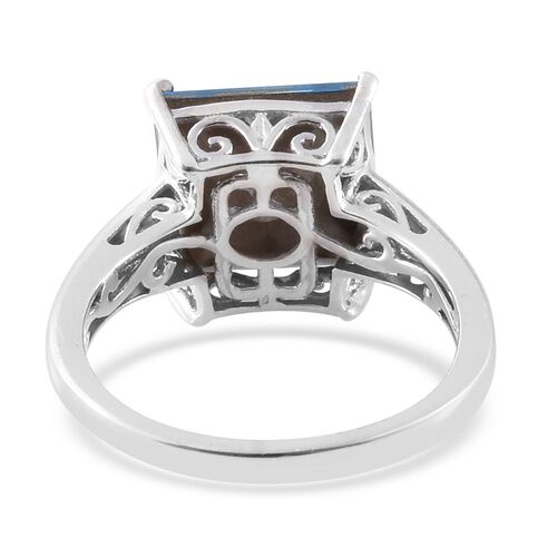 J Francis Crystal from Swarovski - Aquamarine Colour Crystal (Sqr) Solitaire Ring in Platinum Overlay Sterling Silver