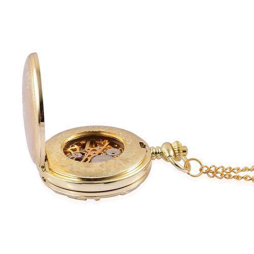 GENOA Automatic Skeleton Golden Dial Water Resistant Ornate Design Pocket Watch with Chain (Size 32) in Gold Tone
