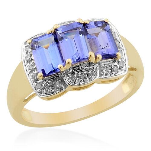 Tanzanite (1.65 Ct) and Diamond 9K Y Gold Ring  1.750  Ct.